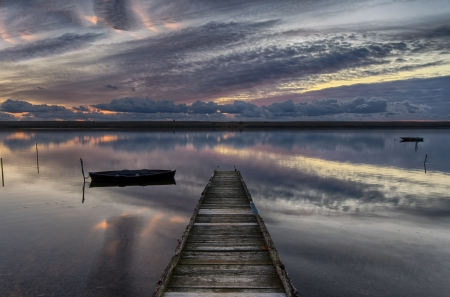 pontoon: Old wooden jetty at Sunset