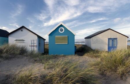hengistbury: Beach huts in sand dunes at Mudeford Spit on Hengistbury Head near Christchurch in Dorset