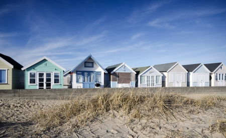 hengistbury: Row of beach huts at Hengistbury Head near Christchurch in Dorset