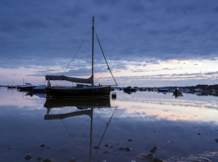 Boats at Sandbanks in Poole Harbour, Dorset photo