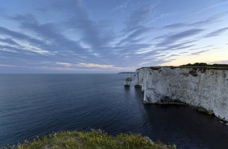 harry: Sunset at Old Harry Rocks near Swanage on Dorset Stock Photo