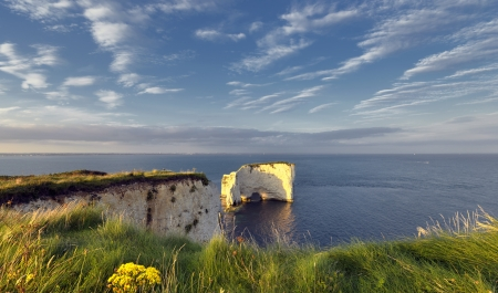 Summer at Old Harry Rocks near Swanage on Dorset Stock Photo - 17032624