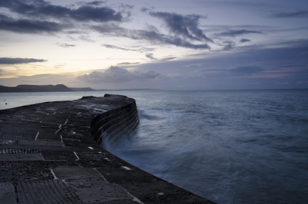 The Cobb at Lyme Regis on Dorset Stock Photo