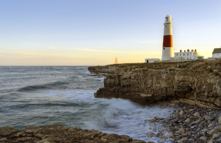 The lighthouse and oblesik at Portland Bill on the Jurassic Coast near Weymouth in Dorset Stock Photo - 17391335