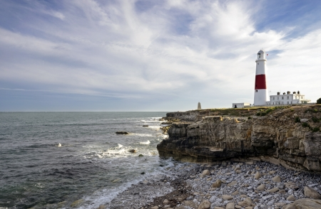 The lighthouse and oblesik at Portland Bill on the Jurassic Coast near Weymouth in Dorset Stock Photo - 17391337