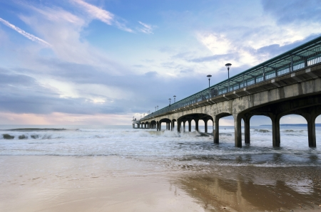 A stormy afternoon on Boscombe Pier near Bournemouth in Dorset