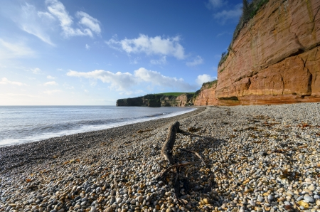 Red sandstone cliffs and shingle beach at Ladram Bay near  Sidmouth on the Jurassic coast in Devon