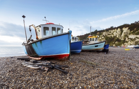 devon: Fishing Boats on the beach at Beer on the Jurassic Coast in Devon Stock Photo