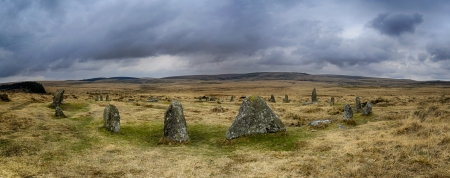 monolith: The Scorhill Stone Circle in Dartmoor National Park in Devon, also known as Gidleigh Stone Circle or Steep Hill Stone Circle Stock Photo