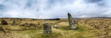 steencirkel: De Scorhill Stone Circle in Dartmoor National Park in Devon, ook wel bekend als Gidleigh Stone Circle of Steep Hill Stone Circle
