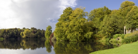 stourhead: The Lake at Stourhead Gardens in early Autumn
