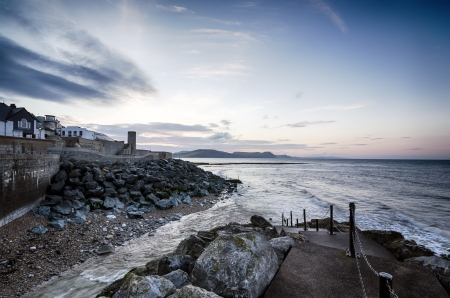 lyme: Steps to the beach at Lyme Regis, part of Dorsets Jurassic Coast.