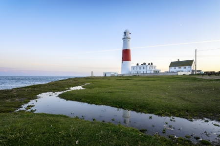 Dusk at the lighthouse on Portland Bill near Weymouth on Dorset's Jurassic coast. Stock Photo - 18832446