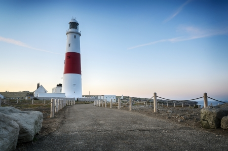 Dusk at the lighthouse on Portland Bill near Weymouth on Dorset's Jurassic coast. Stock Photo - 18852361