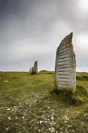 tout: Standing stones at Tout Quarry on Portland in Dorset