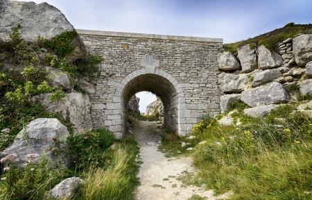 tout: Old stone bridge at Tout Quarry on Portland near Weymouth in Dorset