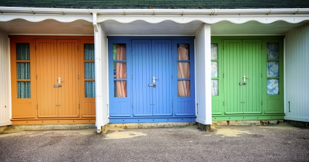 bournemouth: Colourful beach huts on Durley Chine beach in Bournemouth Stock Photo