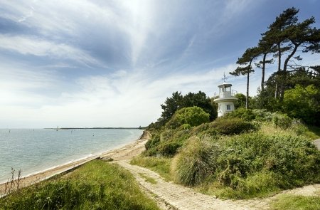 hampshire: The Beaulieu River Millennium Beacon also known as Lepe Lighthouse at Lepe in the New Forest National Park in Hampshire