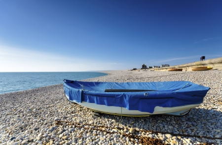 Boats at Chesil Cove, part of Chesil Beach on Portland Bill in Dorset