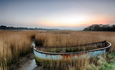 bayou swamp: Rusty old abandoned shipwrecked boat in reeds in the backwaters of Poole Harbour in Dorset
