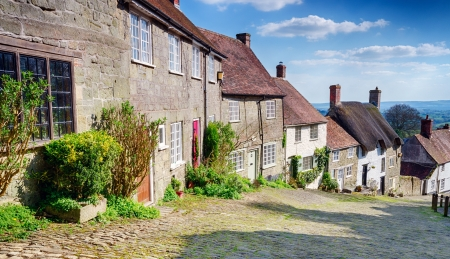 shaftesbury: A row of English cottages at Gold Hill in Shaftesbury Stock Photo