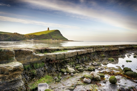 Rocky ledges at Kimmeridge bay on the Jurassic Coast in Dorset photo