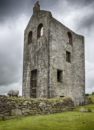 bodmin: An old ruined engine house left over from Cornish tin and copper mining at Minions on Bodmin Moor in Cornwall