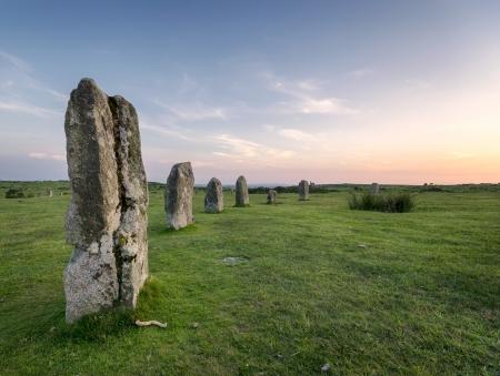 bodmin: Evening at The Hurlers Stone Cirlce at Minions near Liskeard on Bodmin Moor in Cornwall Stock Photo