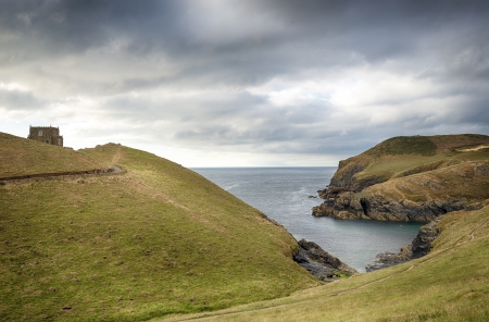 quin: Looking toward Doyden Castle at Port Quin on the north coast of Cornwall Editorial