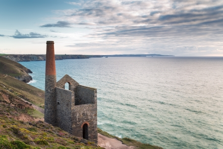 cornish: The coast at St Agnes in Cornwall with the Wheal Coates tin mine perched on the edge of the cliffs