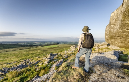 Hiking at Kilmar Toor on Bodmin Moor in Cornwall photo