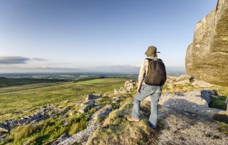 bodmin: Hiking at Kilmar Toor on Bodmin Moor in Cornwall Stock Photo