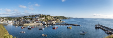 Panoramic view of Mevagissey in Cornwall and its harbour