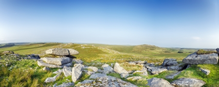 bodmin: A panoramci view from Roughtor also known as Rough Toron Bodmin Moor one of the highest points in cornwall