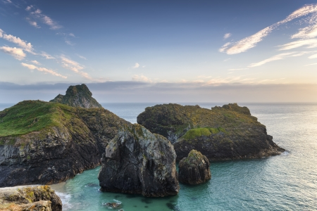 Rocky islands at Kynance Cove on the Lizard Peninsular in Cornwall photo