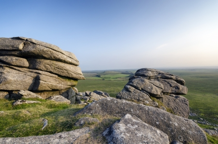 bodmin: Weathered slabs of granite at the top of Roughtor on Bodmin Moor in Cornwall