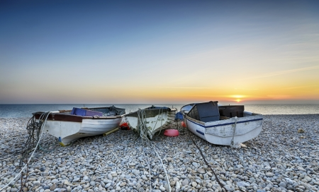 Boats at Chesil Cove on Portland Bill in Dorset