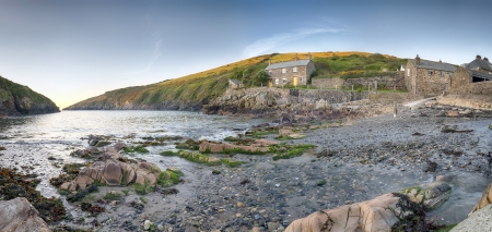 quin: A panoramic view of  Port Quin and beach, a tiny fishing village on the north Cornwall coast