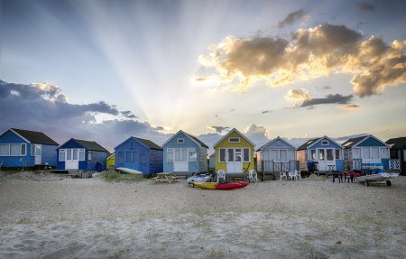 Beach huts at Hengistbury Head near Bournemouth in Dorset photo