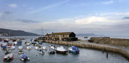 lyme: The harbour at Lyme Regis a small fishing port on the Jurassic Coast in Dorset