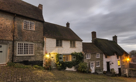 shaftesbury: Cottages at Gold Hill in Shaftesbury in Dorset