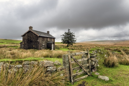 abandoned house: A derelict and abandoned farmhouse at Nun Stock Photo