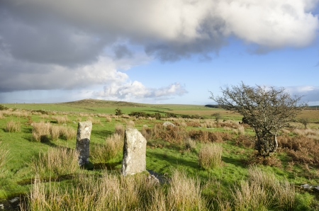 bodmin: A view across Bodmin Moor in Cornwall with Hawks Tor in the far distance Stock Photo