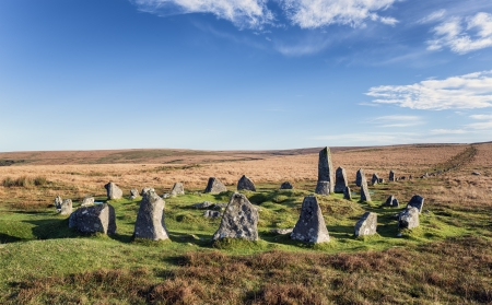 Stone Circle and Stone Row alignment at Down Tor on Dartmoor also known as Hingston Hill