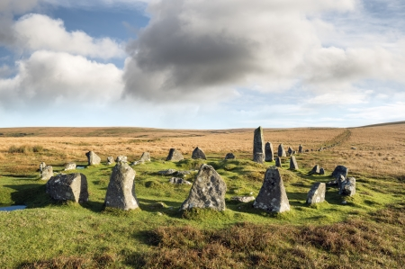 Stone Circle and Stone Row alignment at Down Tor on Dartmoor National Park in Devon also known as Hingston Hill Stock Photo - 23871477