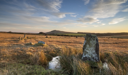 bodmin: The Fernacre Stone Circle at the foot of Roughtor pn Bodmin Moor in Cornwall