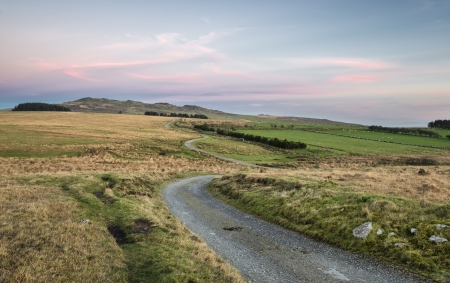 willy: View of Bodmin Moor at dusk, looking out towards Brown Willy which is the highest point in Cornwall Stock Photo