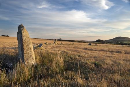 Fernacre stone circle on Bodmin Moor in Cornwall
