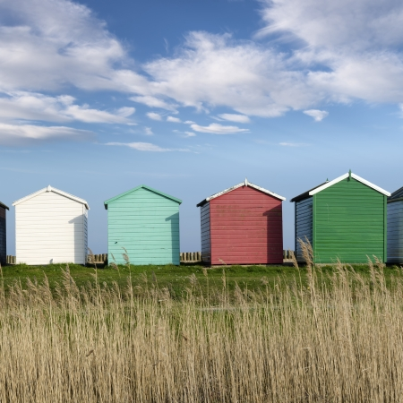 Colorful Beach huts at Calshot on the Solent near Southampton in Hampshire photo