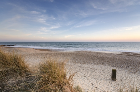hengistbury: The beach and sand dunes at Hengistbury Head near Chrischurch in Dorset